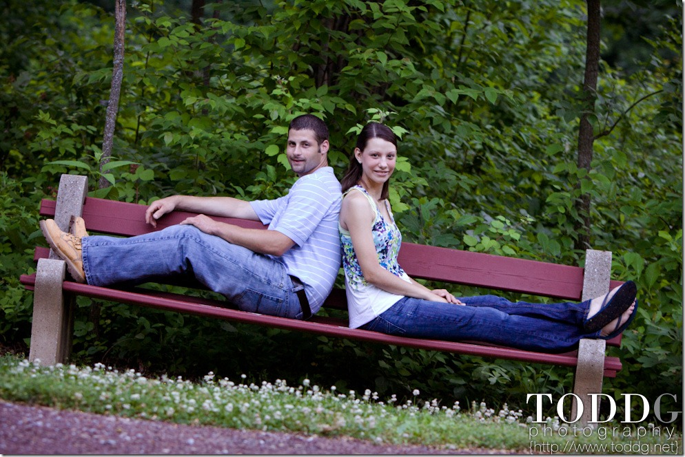 Sarah and Ben on a park bench in Lebanon County park.